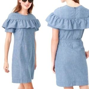 J. Crew Dresses - J. Crew Chambray Eddie Ruffle Dress Pockets Belt 8